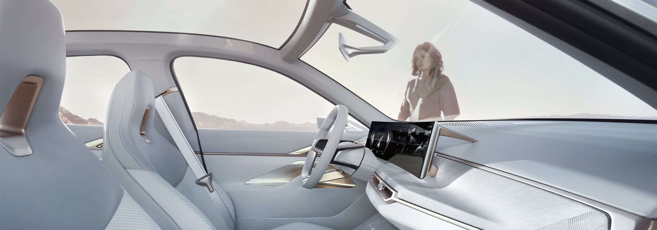 Interior view of the BMW i4, view from the passenger window